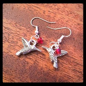 Jewelry - Red Beaded Hummingbird Earrings Handmade New